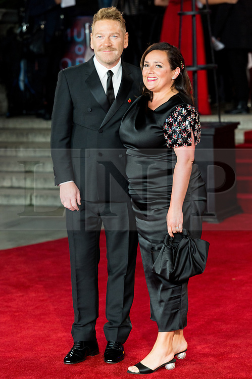 © Licensed to London News Pictures. 02/11/2017. London, UK. KENNETH BRANAGH and wife LINDSAY BRUNNOCK attends the world film premiere of Murder On The Orient Express. Photo credit: Ray Tang/LNP