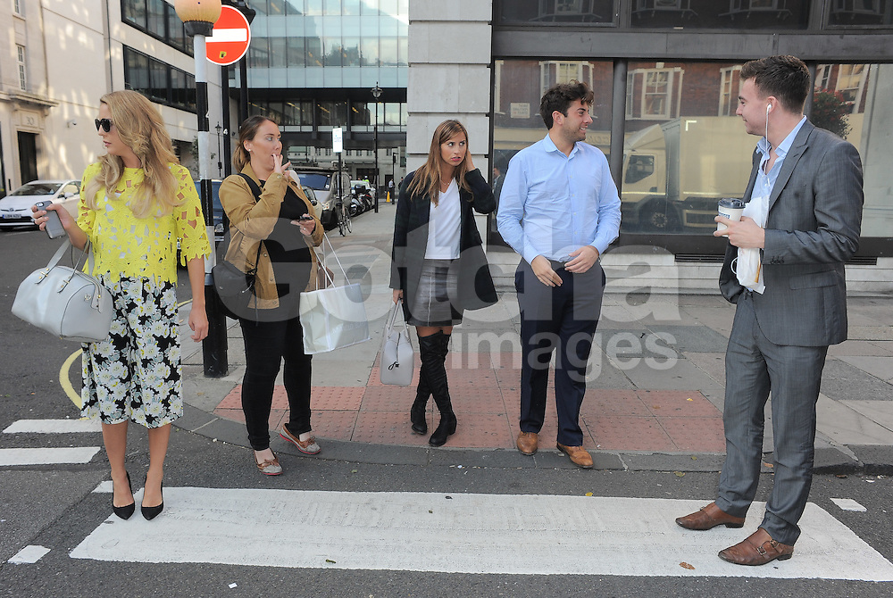 TOWIE stars Lydia Bright, Ferne McCann and James Argent leaving BBC Radio 1 in central London, UK. 03/10/2014<br />BYLINE MUST READ : GOTCHAIMAGES.COM<br /><br />Copyright by &copy; Gotcha Images Ltd. All rights reserved.<br />Usage of this image is conditional upon the acceptance <br />of Gotcha Images Ltd, terms and conditions available at<br />www.gotchaimages.com