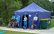 Glasgow, Scotland, Friday, 4th  August 2018, Italian Athletes Trainh outside their Team Tent at the, European Games, Rowing, Strathclyde Park, North Lanarkshire, © Peter SPURRIER/Alamy Live News