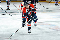 KELOWNA, CANADA -FEBRUARY 1: Chase Souto RW #12 of the Kamloops Blazers handles the puck during warm up against the Kelowna Rockets on February 1, 2014 at Prospera Place in Kelowna, British Columbia, Canada.   (Photo by Marissa Baecker/Getty Images)  *** Local Caption *** Chase Souto;