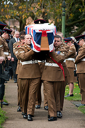 Funeral of Private Matthew Adam Thornton, Territorial Army Soldier with 4th Battalion The Yorkshire Regiment who was killed on the 9th of November 2011 while deployed to Afghanistan with Support Company 1st Battalion the Yorkshire Regiment..Private Thornton was killed just 6 days after his 28th Birthday and 2 days before Armistice Day. .The funeral was held at All Saints Church Darton Barnsley on Tuesday.29 November 2011  Image © Paul David Drabble