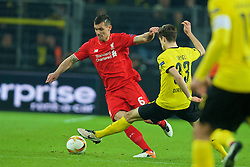 DORTMUND, GERMANY - Thursday, April 7, 2016: Liverpool's Dejan Lovren in action against Borussia Dortmund during the UEFA Europa League Quarter-Final 1st Leg match at Westfalenstadion. (Pic by David Rawcliffe/Propaganda)