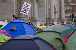 Hundreds of environmental protesters from Extinction Rebellion occupy Marble Arch, camping in the square and even on the streets, blocking access to traffic on Park Lane and Oxford Street in London's usually traffic-heavy west end. . London, April 16 2019.