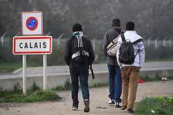 © Licensed to London News Pictures. 23/10/2016. Calais, France. Three young migrants walk past a road sign for Calais as preparations begin for the demolition of the migrant camp in Calais, France, known as the 'Jungle'. French authorities have given an eviction order to thousands of refugees and migrants living at the makeshift living area of the French coast. Photo credit: Ben Cawthra/LNP