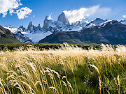 "Mount Fitz Roy (3405 meters or 11,170 feet) rises abruptly above grass and forest in the southern Andes mountains, near El Chaltén village, in Los Glaciares National Park, Argentina, South America. In 1877, explorer Perito Moreno named ""Cerro Fitz Roy"" for Robert FitzRoy (no space before the capital R) who, as captain of the HMS Beagle, had travelled up the Santa Cruz River in 1834 and charted much of the Patagonian coast. First climbed in 1952 by French alpinists Lionel Terray and Guido Magnone, Mount Fitz Roy has very fickle weather and is one of the world's most challenging technical ascents. It is also called Cerro Chaltén, Cerro Fitz Roy, and Monte Fitz Roy (with a space before the R). Chaltén comes from a Tehuelche (Aonikenk) word meaning ""smoking mountain"" (explained by frequent orographic clouds). Cerro is a Spanish word meaning hill. El Chaltén village was built in 1985 by Argentina to help secure the disputed border with Chile, and now tourism supports it, 220 km north of the larger town of El Calafate. The foot of South America is known as Patagonia, a name derived from coastal giants, Patagão or Patagoni, who were reported by Magellan's 1520s voyage circumnavigating the world and were actually Tehuelche native people who averaged 25 cm (or 10 inches) taller than the Spaniards. Mount Fitz Roy is the basis for the Patagonia company's clothing logo, after Yvon Chouinard's ascent and subsequent film in 1968. Published in ""Light Travel: Photography on the Go"" by Tom Dempsey 2009, 2010."