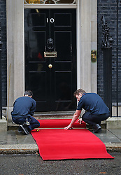 © Licensed to London News Pictures. 21/10/2015. London, UK. A red carpet is laid out before Prime Minister David Cameron welcomed Chinese President Xi Jinping to Downing Street. Photo credit: Peter Macdiarmid/LNP