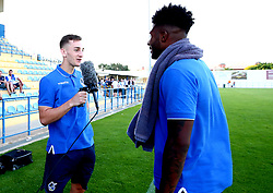 Tom Lockyer, Ellis Harrison and Joe Partington of Bristol Rovers film their post-match interviews after the preseason friendly against Hull City - Mandatory by-line: Robbie Stephenson/JMP - 18/07/2017 - FOOTBALL - Estadio da Nora - Albufeira,  - Hull City v Bristol Rovers - Pre-season friendly