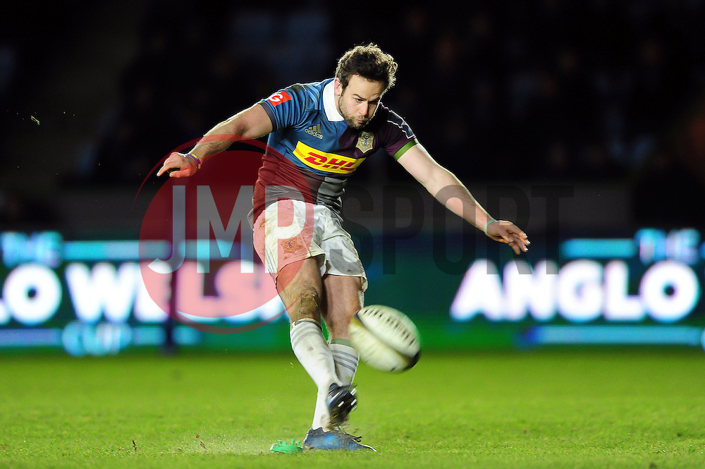 Ruaridh Jackson of Harlequins kicks for the posts - Mandatory byline: Patrick Khachfe/JMP - 07966 386802 - 03/02/2017 - RUGBY UNION - The Twickenham Stoop - London, England - Harlequins v Sale Sharks - Anglo-Welsh Cup.