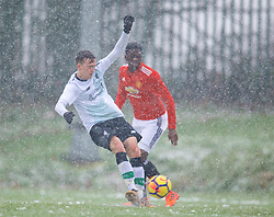 MANCHESTER, ENGLAND - Saturday, December 9, 2017: Liverpool's Liam Millar scores his side's first goal to equalise the score at 1-1 during an Under-18 FA Premier League match between Manchester United and Liverpool FC at the Cliff Training Ground. (Pic by David Rawcliffe/Propaganda)