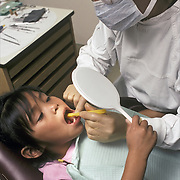 Indian Health Services, Chinle Comprehensive Care Facility, Native American child, Navajo in Dental Clinic,  anxiety of pain.<br /> <br /> IHS ( Indian Health Services ) Chinle, AZ.