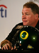 12//29/09  - The Oregon Ducks head coach Chip Kelly pauses before a response while speaking with many of the members of the press during team media day Wednesday morning at the downtown L.A. Marriott.