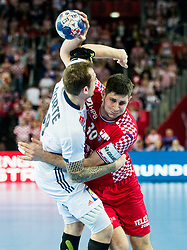 Valentin Porte of France vs Marko Mamic of Croatia during handball match between National teams of Croatia and France on Day 7 in Main Round of Men's EHF EURO 2018, on January 24, 2018 in Arena Zagreb, Zagreb, Croatia.  Photo by Vid Ponikvar / Sportida