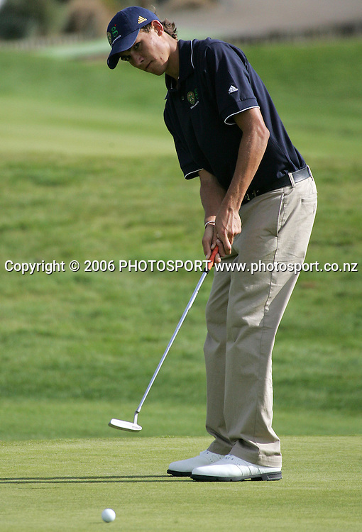 Australia's Matt Jager putts during the Clare Higson Trophy singles match between New Zealand's Danny Lee and Australia's Matt Jager at Hamilton Golf Club in Hamilton, New Zealand on Tuesday 26 September, 2006. Danny Lee won the match 2 and 1. Photo: Tim Hales/PHOTOSPORT