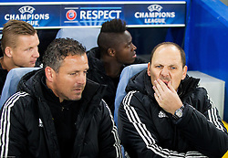 Sasa Gajser and Ante Simundza, head coach of Maribor during football match between Chelsea FC and NK Maribor, SLO in Group G of Group Stage of UEFA Champions League 2014/15, on October 21, 2014 in Stamford Bridge Stadium, London, Great Britain. Photo by Vid Ponikvar / Sportida.com