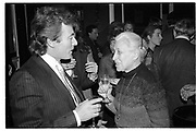 TERRY O'NEILL; EVE ARNOLD, Party given by Ed Victor, Cambridge Gate, 25 March 1985. <br /> <br /> SUPPLIED FOR ONE-TIME USE ONLY> DO NOT ARCHIVE. © Copyright Photograph by Dafydd Jones 248 Clapham Rd.  London SW90PZ Tel 020 7820 0771 www.dafjones.com