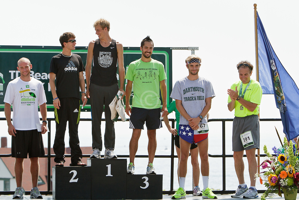Beach to Beacon 10K award for best Maine runners: Josh Zolla, Jonny Wilson, Ethan Shaw, Robert Gomez, WIll Geogeghan