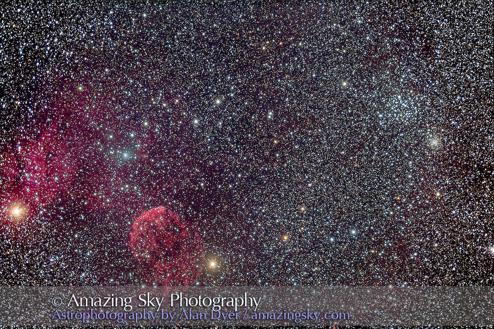 IC 443, a supernova remnant in Gemini (aka the Jellyfish Nebula) and associated nebulosity such as IC 444 and LDN 1565, plus the Messier open cluster M35 at right, with its companion cluster NGC 2158 below it. This is a stack of 12 images, with the TMB 92mm and Borg 0.85x flattener for f/4.7, and filter modified Canon 6D at ISO 800. 8 shots were 6 minutes and 4 shots were 8 minutes.