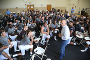 09/20/2014 - Somerville, Mass. - Army Lt. Gen. H.R. McMaster, the uncle of Tufts QB Jack Doll, A15, addresses the football team in the locker room before facing Hamilton at Zimman Field on Sept. 20, 2014. (Kelvin Ma/Tufts University)