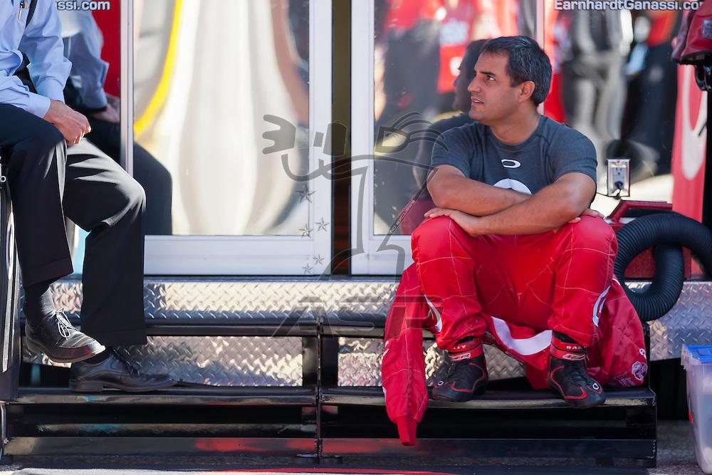 BROOKLYN, MI - JUN 14, 2012:  Juan Pablo Montoya (42) prepares for a test session for the Quicken Loans 400 at the Michigan International Speedway in Brooklyn, MI.
