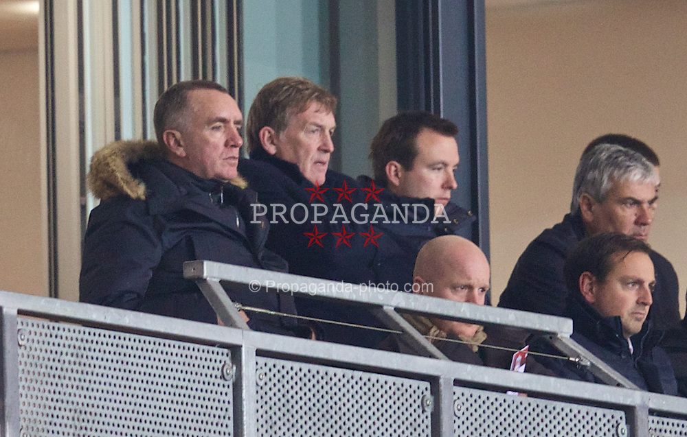 ST. HELENS, ENGLAND - Wednesday, January 15, 2014: Liverpool's Managing Director Ian Ayre and non-executive director Kenny Dalglish watch the Under-18's in action against Aston Villa during the FA Youth Cup 4th Round match at Langtree Park. (Pic by David Rawcliffe/Propaganda)