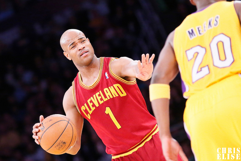 14 January 2014: Cleveland Cavaliers point guard Jarrett Jack (1) is seen during the Cleveland Cavaliers 120-118 victory over the Los Angeles Lakers at the Staples Center, Los Angeles, California, USA.