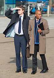 © Licensed to London News Pictures.01/03/2014. LONDON, UK (L-R)  Tristram Hunt and Chuka Umunna. The Labour Party Special conference today at Excel London on 1st March 2014.  Photo credit : Stephen Simpson/LNP