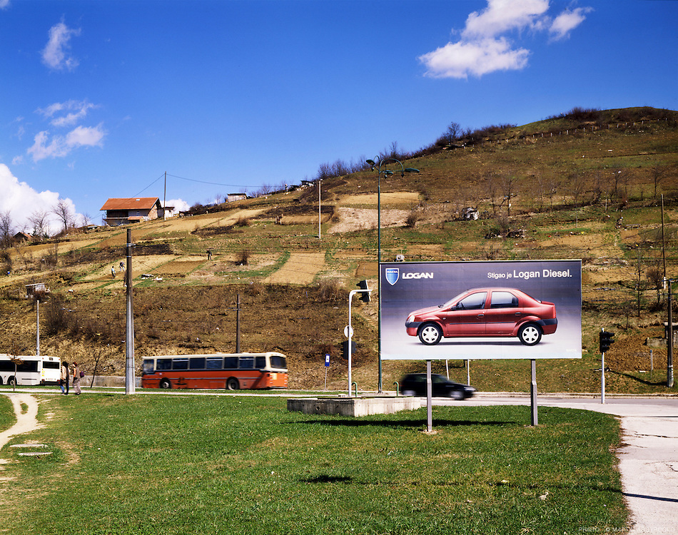 "Sarajevo, 2006. Advertising for ""Logan"" by Renault."
