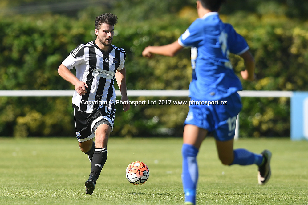Hawkes Bay United's Ben Everson makes a break in the Stirling Sports Premiership match, Hawke's Bay United v Hamilton Wanderers, Park Island, Napier, Sunday, March 19, 2017. Copyright photo: Kerry Marshall / www.photosport.nz