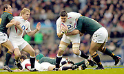 2004 England vs South Africa - Investec Challenge - Twickenham..Lewis Moody [right] move into support thr ball carrier Martin Corry..20.11.2004 Photo  Peter Spurrier. .email images@intersport-images.com...