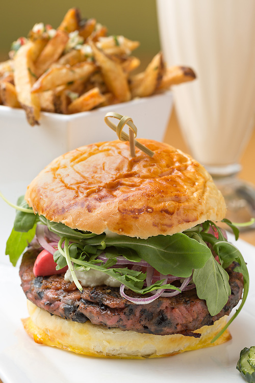 Beet burger with truffle fries at Grazers in Williston.