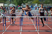 Moapa Valley's RJ Hubert competes in D1-A Boys 110 Hurdles during the NIAA State Track &amp; Field Championships at Carson City High School in Carson City, Nev. on Friday, May 20, 2016.<br /> Kevin Clifford/Las Vegas Review-Journal