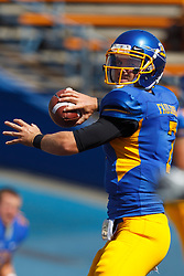 September 24, 2011; San Jose, CA, USA; San Jose State Spartans quarterback Matt Faulkner (7) warms up before the game against the New Mexico State Aggies at Spartan Stadium. San Jose State defeated New Mexico State 34-24.
