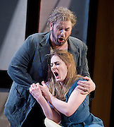 Rigoletto <br /> by Verdi <br /> English National Opera at the London Coliseum, London, Great Britain <br /> rehearsal <br /> 31st January 2017 <br /> <br /> <br /> <br /> Nicholas Pallesan as Rigoletto <br /> <br /> <br /> <br /> Sydney Mancasola as Gilda <br /> <br /> <br /> <br /> <br /> <br /> Photograph by Elliott Franks <br /> Image licensed to Elliott Franks Photography Services
