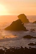 Sea stacks at sunset, near Crescent City, California