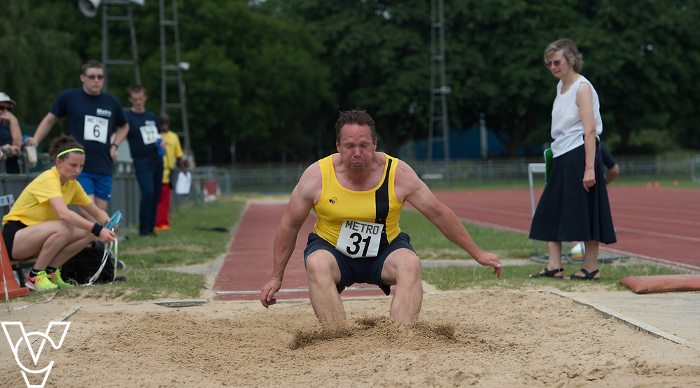 Metro Blind Sport's 2017 Athletics Open held at Mile End Stadium.  Long jump.  Jonathan Ward<br /> <br /> Picture: Chris Vaughan Photography for Metro Blind Sport<br /> Date: June 17, 2017