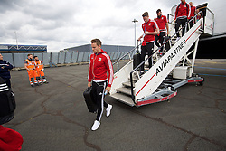 LILLE, FRANCE - Wednesday, June 15, 2016: Wales' Chris Gunter arrives in at Lille Lesquin International Airport as for their Group Stage MD 2 game of the UEFA Euro 2016 Championship against England. (Pic by David Rawcliffe/Propaganda)