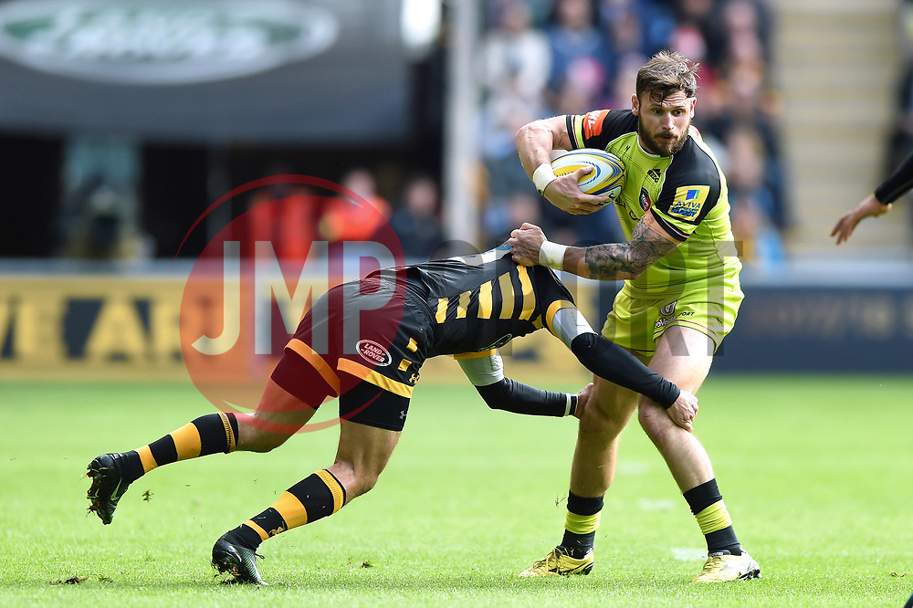 Adam Thompstone of Leicester Tigers is tackled - Mandatory byline: Patrick Khachfe/JMP - 07966 386802 - 20/05/2017 - RUGBY UNION - Ricoh Arena - Coventry, England - Wasps v Leicester Tigers - Aviva Premiership Semi Final.