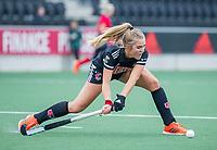 AMSTELVEEN  - Floor de Haan (Adam) tijdens de hoofdklasse competitiewedstrijd hockey dames , Amsterdam-Laren (3-0)  , COPYRIGHT KOEN SUYK