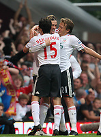 fernando torres celebrates his goal with Yossi benayoun and lucas leiva<br /> F.A. Barclaycard Premiership. West Ham United v Liverpool. 19.09.09<br /> Photo By Karl Winter Fotosports International