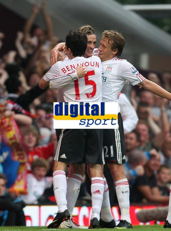 fernando torres celebrates his goal with Yossi benayoun and lucas leiva<br /> F.A. Barclaycard Premiership. West Ham United v Liverpool. 19.09.09<br /> Photo By Karl Winter Fotosports International