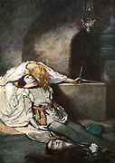 Romeo and Juliet' play by Wiliam Shakespeare written c1895.  Juliet wakes from her drugged sleep to find that Romeo has killed himself thinking she was dead.  Late 19th century illustration.