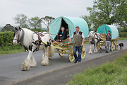 Thursday 7th June 2012 at Appleby, Cumbria, England, UK. Horse drawn bow-top wagons arrive from all over the UK on the first day of the Appleby Fair, the biggest annual gathering of Gypsies and Travellers in Europe.