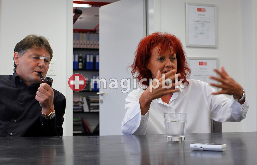 FC Zuerich (FCZ) president Ancillo Canepa (L) and his wife Heliane of Switzerland are pictured during a discussion at their office in Zurich (Zuerich), Switzerland, Friday, Sept. 11, 2009. (Photo by Patrick B. Kraemer / MAGICPBK)