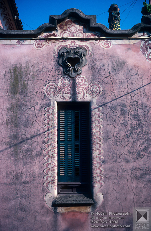 Architectural detail of building facade with beautifully painted paterns and ornate moldings taken near Park Guell, Barcelona, Catalonia, Spain...Media Usage:.Subject photograph(s) are copyrighted Edward McCain. All rights are reserved except those specifically granted by McCain Photography in writing...McCain Photography.211 S 4th Avenue.Tucson, AZ 85701-2103.(520) 623-1998.mobile: (520) 990-0999.fax: (520) 623-1190.http://www.mccainphoto.com.edward@mccainphoto.com