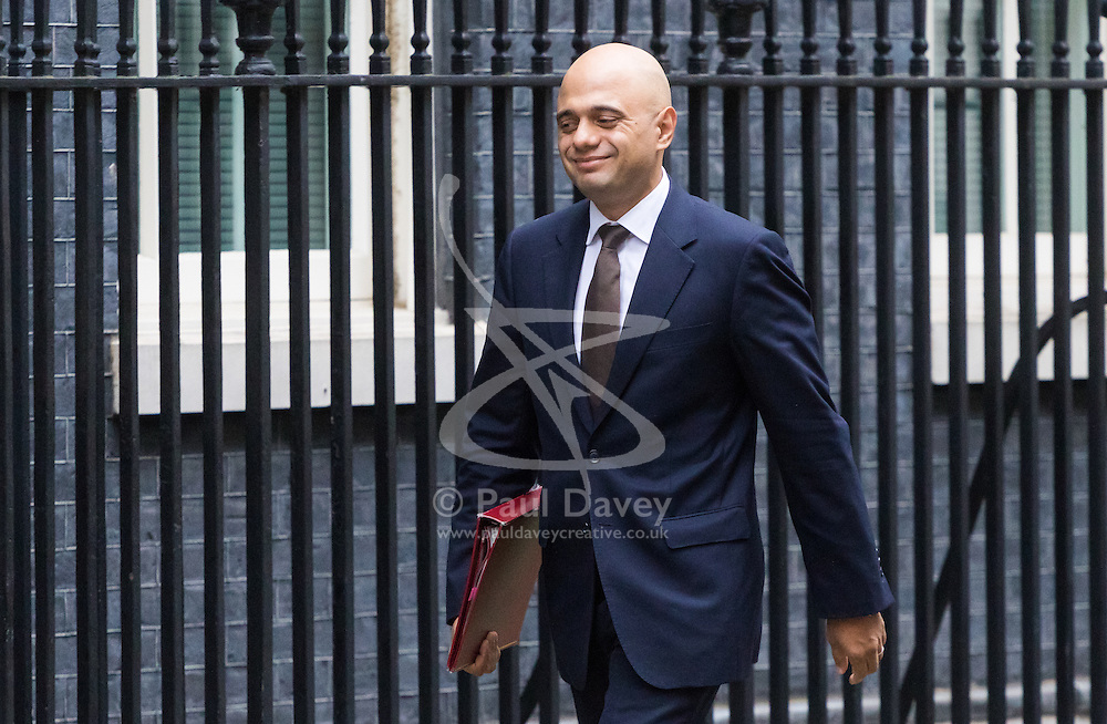 Downing Street, London, October 18th 2016. Communities and Local Government Secretary Sajid Javid arrives at the weekly cabinet meeting at 10 Downing Street in London.