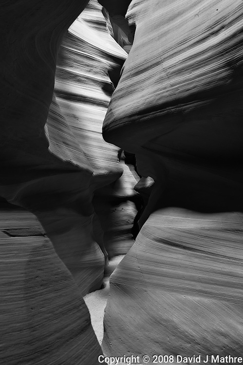 Upper Antelope Canyon, Page Arizona. Image taken with a Nikon D3 camera and 24-70 mm f/2.8 lens (ISO 200, 32 mm, f/16, 8 sec). Image processed with Capture One Pro. Converted to B&W with NIK Silver Efex Pro 2