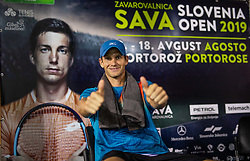 Blaz Rola of Slovenia celebrates after winning in 2nd Round of ATP Challenger Zavarovalnica Sava Slovenia Open 2019, day 6, on August 14, 2019 in Sports centre, Portoroz/Portorose, Slovenia. Photo by Vid Ponikvar / Sportida