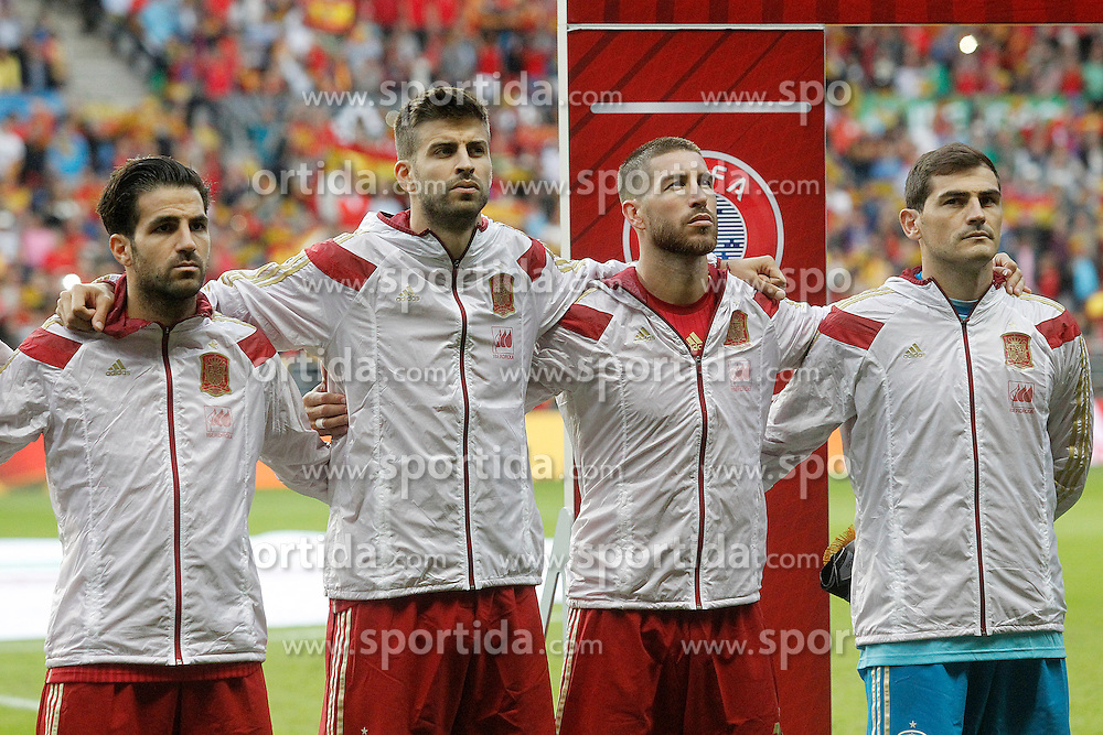 05.09.2015, Stadio Nuevo Carlos Tartiere, Oviedo, ESP, UEFA Euro 2016 Qualifikation, Spanien vs Slowakei, Gruppe C, im Bild Spain's Cesc Fabregas, Gerard Pique, Sergio Ramos and Iker Casillas // during the UEFA EURO 2016 qualifier Group C match between Spain and Slovakia at the Stadio Nuevo Carlos Tartiere in Oviedo, Spain on 2015/09/05. EXPA Pictures &copy; 2015, PhotoCredit: EXPA/ Alterphotos/ Acero<br /> <br /> *****ATTENTION - OUT of ESP, SUI*****
