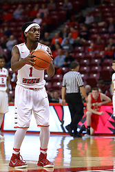 26 November 2016:  Paris Lee(1) shoots for a technical foul called on the Bulldogs bench during an NCAA  mens basketball game between the Ferris State Bulldogs the Illinois State Redbirds in a non-conference game at Redbird Arena, Normal IL
