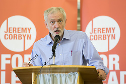© Licensed to London News Pictures. 08/09/2015. Nuneaton, North Warwickshire, UK. Labour leader contender JEREMY CORBYN taking part in a rally at North Warks and Hinckley College. Jeremy held his first rally in Nuneaton and now holds his last the 98th in Nuneaton. Photo credit : Dave Warren/LNP